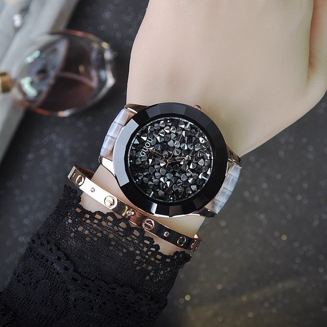 Luxury Ceramic Dial Women Watch Ladies Girls Crystal Quartz Watch Dress Black Rhinostone Wristwatch Vogue Relojes Mujer OP001