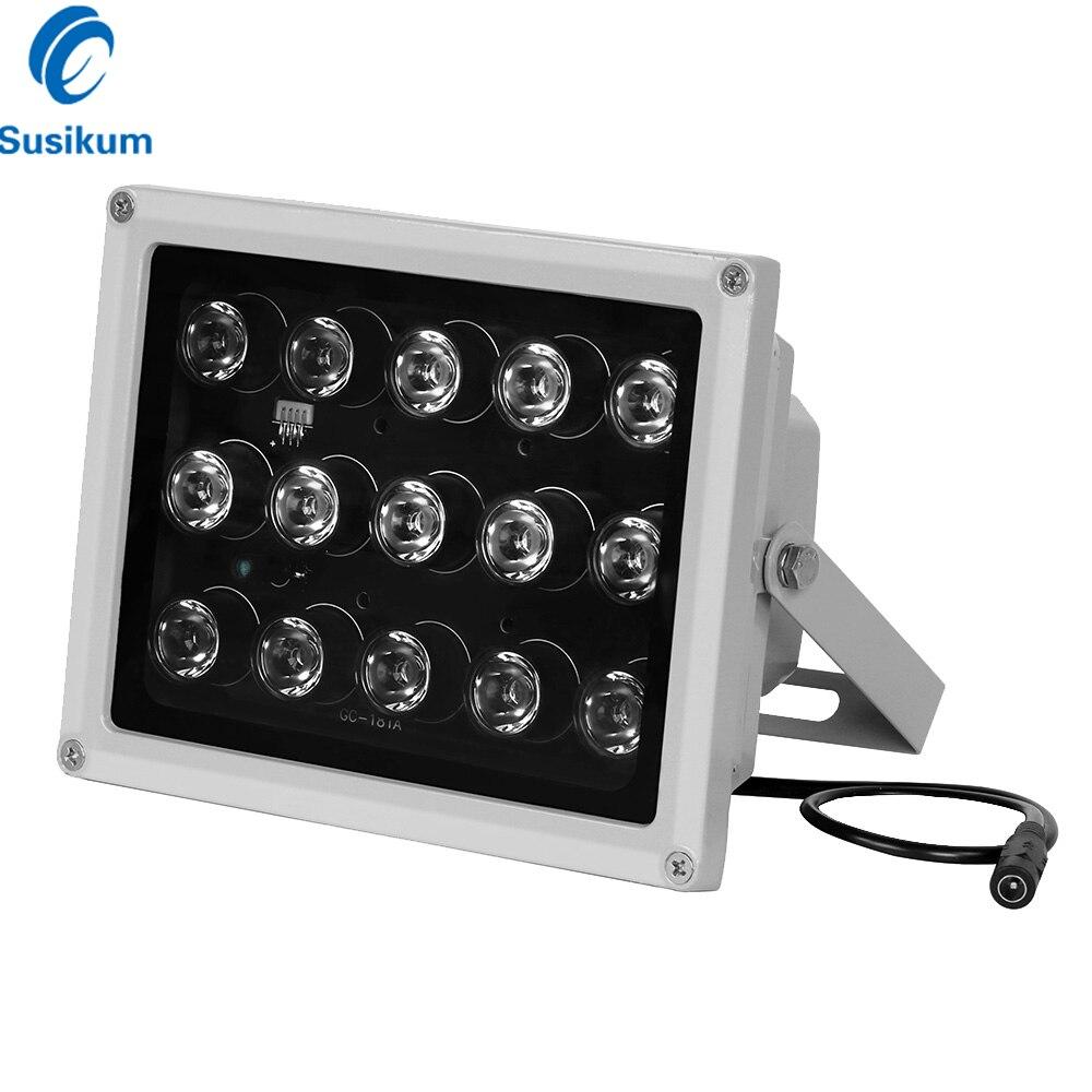 CCTV lumière de remplissage 15 pièces tableau IR illuminateur lampe infrarouge vision nocturne 850nm IP65 métal extérieur étanche CCTV led pour caméra