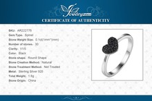JewelryPalace Fashion 0.14ct Natural Black Spinel Love Heart Rings For Women 100% 925 Sterling Silver Wedding Gifts Fine Jewelry