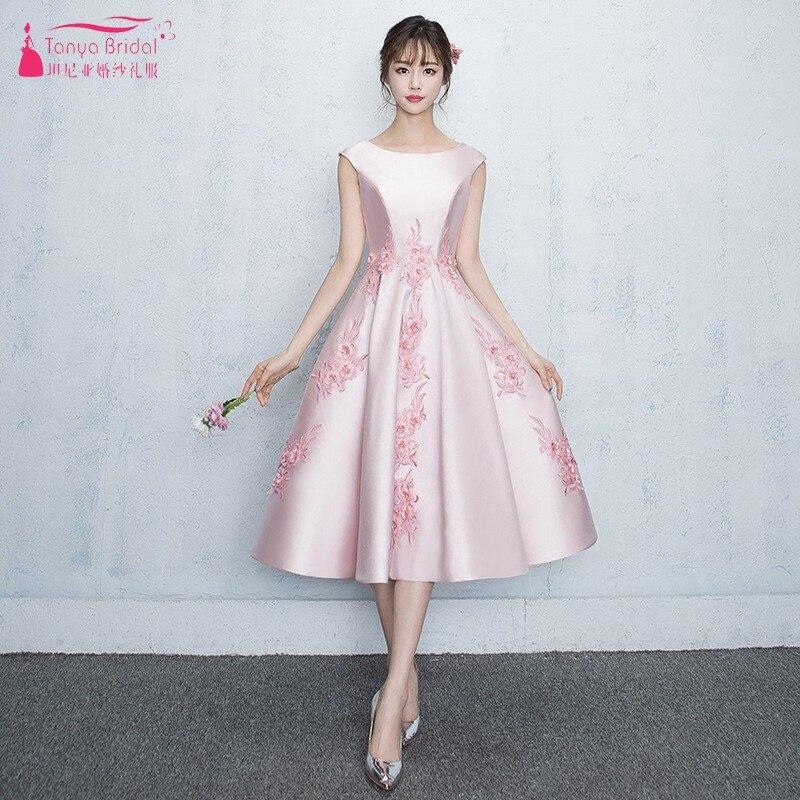 TANYA BRIDAL O Neck Pink   Bridesmaid     Dresses   Tea Length Satin Formal Gown For Women Simple Wedding Guest   Dress   JQ320