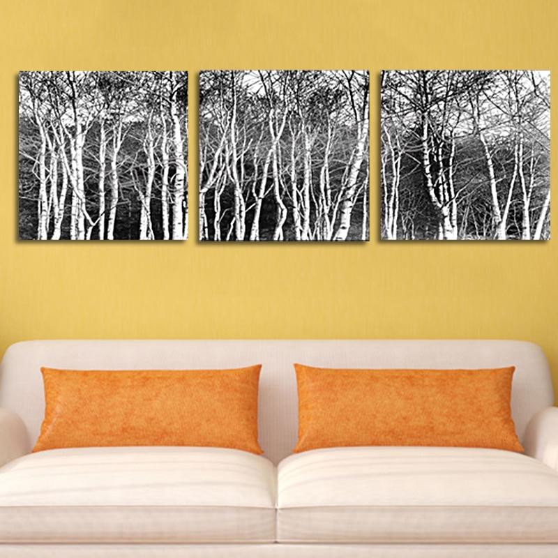 AtFipan Unframed Canvas Photo Prints Black & White Tree Set Wall Art ...