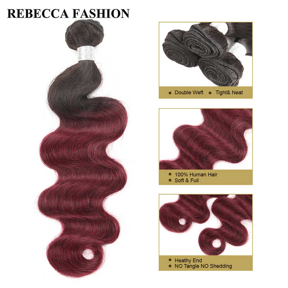 Rebecca Peruvian Body Wave 10 To 30 Inch Bundles Ombre Hair 3 Bundles Deals 1b/99j Red Color Remy Human Hair Extensions