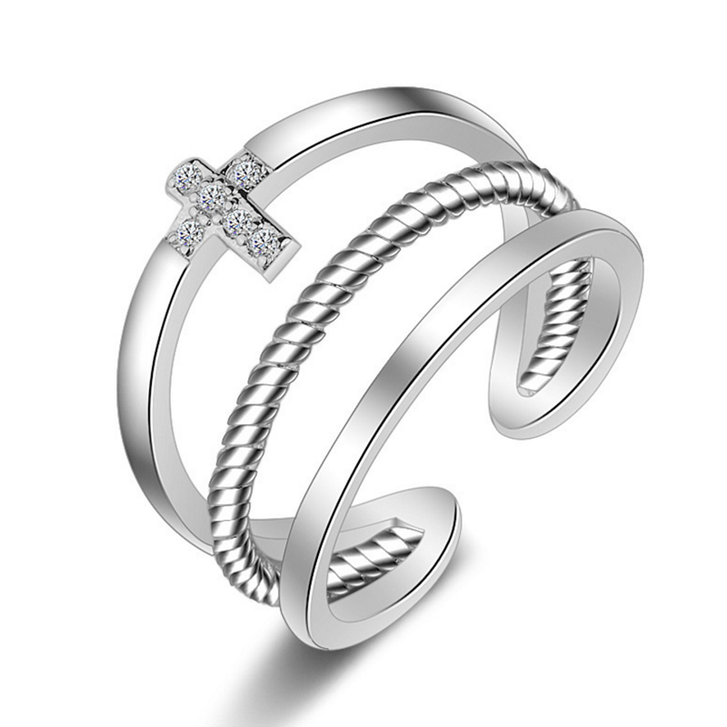 Ring for women cross jewelry adjustable size finger jewelry resizable nickel-free silver and copper alloy fashion jewelry