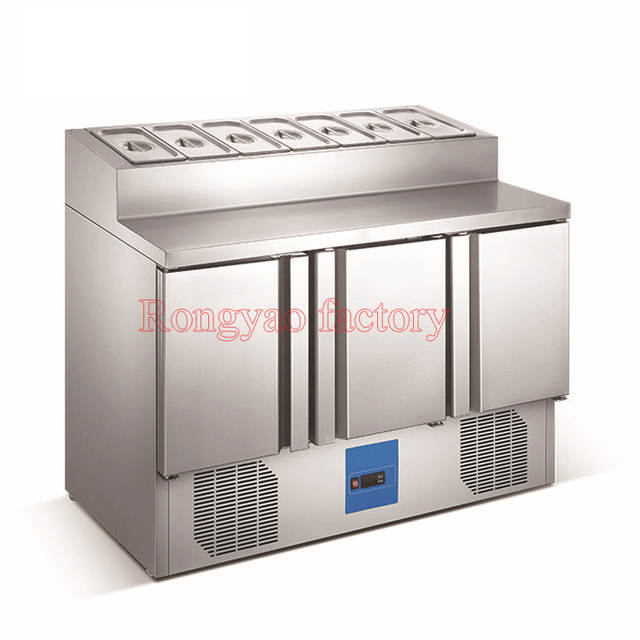 3 Door 7 Tank Commercial Kitchen Cabinet Display Cabinet Fruit Fresh Keeping Storage Stainless Steel Salad Refrigerator