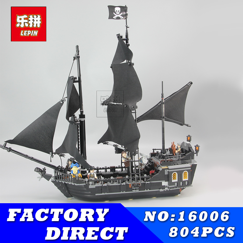LEPIN 16006 804pcs Pirates of the Caribbean Black Pearl Building Blocks Bricks Set The Figures Compatible with Lifee Toys Gift lepin 16009 caribbean blackbeard queen anne s revenge mini bricks set sale pirates of the building blocks toys for kids gift