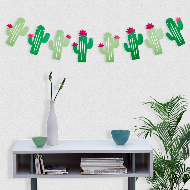 8PCS Per Set Cactus Banners Garland Party Supplies Decorations For Pennant Tropical Birthday Festival Luau Hawaii Kid's Party