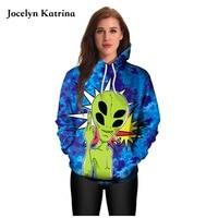 Purple Starry Sky Sweatshirts Pullover Black Alien Face Skateboarding Hoodies Hip Hop Hoody Autumn Winter Sport Suits Men