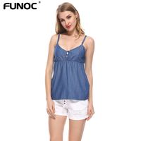 Womens Denim Tank Top Sleeveless 2017 Summer Tops Spaghetti Strap Party Top Ladies Sexy Deep V