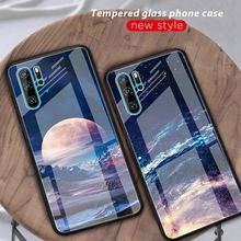 Moon Space Pattern Tempered Glass Case For Huawei