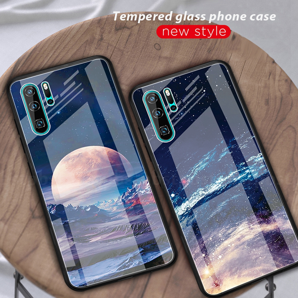 Moon Space Pattern Tempered <font><b>Glass</b></font> <font><b>Case</b></font> For <font><b>Huawei</b></font> <font><b>P20</b></font> Lite <font><b>P20</b></font> Pro P30 Lite P30 Pro Painted Silicone Edge Phone Cover <font><b>Case</b></font> Shell image