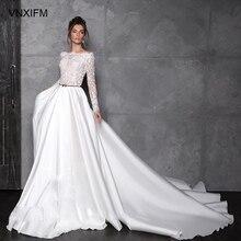 VNXIFM 2019 תחרה חתונה שמלות מותאם אישית כבוי כתף Applique אונליין קפל ארוך שרוולים בציר כלה שמלות
