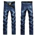 Fashion Jeans Men High Quality Denim Pants Four Seasons Clothes Trousers New Famous Brand Straight Slim Fit Blue Men Jeans UK389