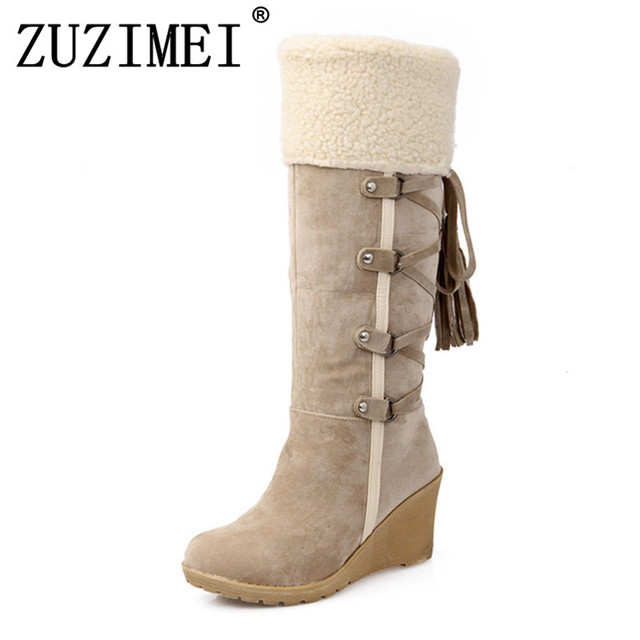 3cdcb7ac718 US $24.04 35% OFF| Fashion Scrub Plush Snow Boots Women Wedges Knee high  Slip resistant Boots Thermal Female Cotton padded Shoes Warm Winter-in ...