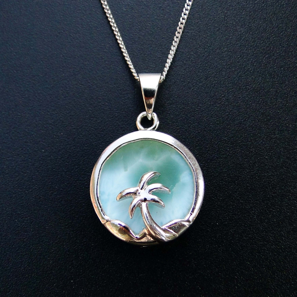 Natural Larimar Jewelry Coconut Palm Tree Women Pendant Crystal Pendant 100% 925 Sterling Silver Gemstone Pendant without Chain palm tree pattern straw chain bag