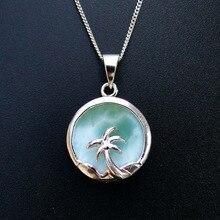 Naturalna biżuteria z larimarem palma kokosowa wisiorek 100% 925 Sterling Silver Larimar naszyjnik dla kobiet