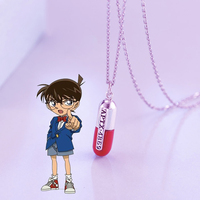 Detective Conan Pill Capsule APTX 4869 Necklace Pedant Artificial Coral Case Closed 925 Silver Jewelry Gifts For Women Men Girls