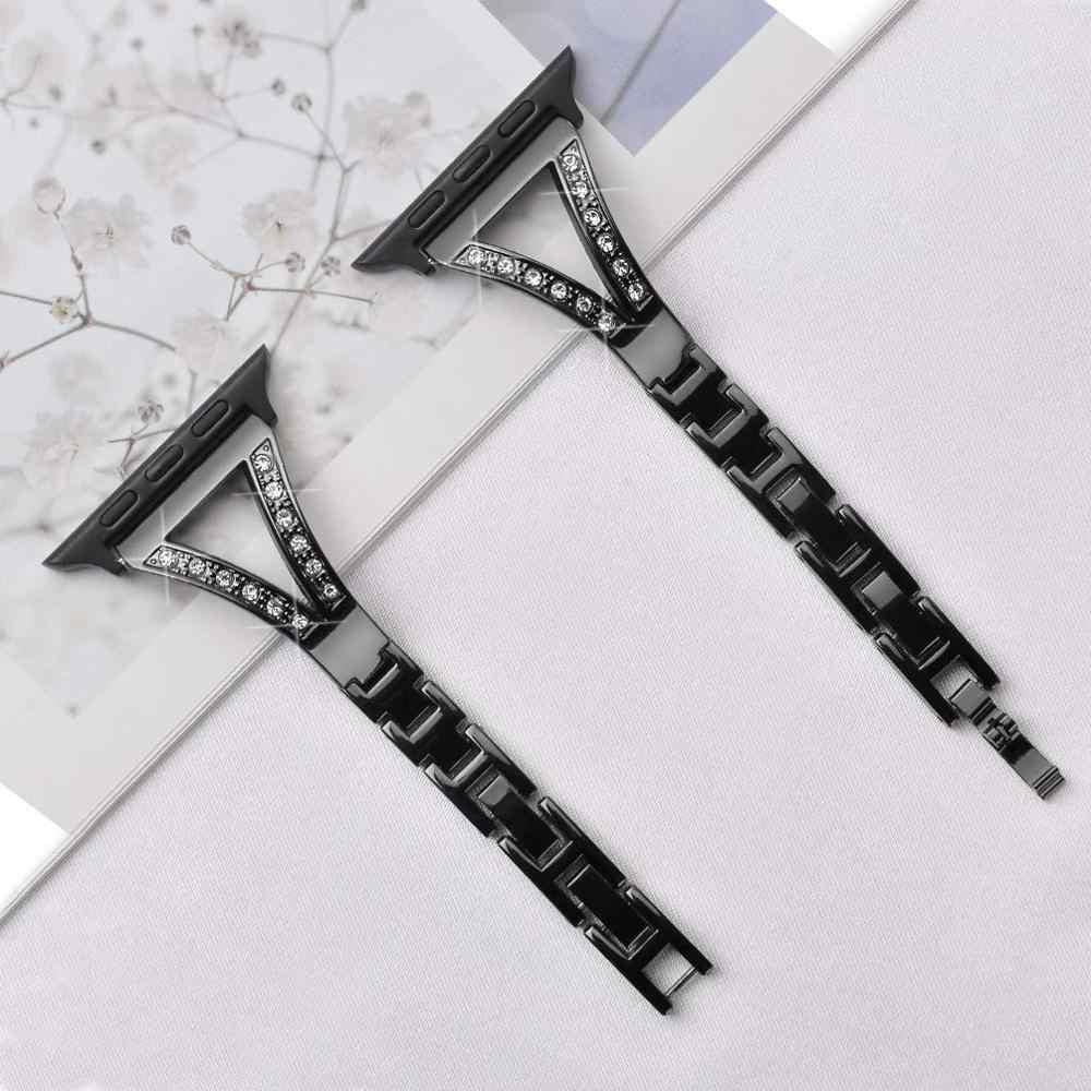 Joyozy in acciaio steek apple watch della fascia delle donne di Diamante Della Fascia iWatch braccialetto cinturino in acciaio inox Per apple watch band 40mm/44mm