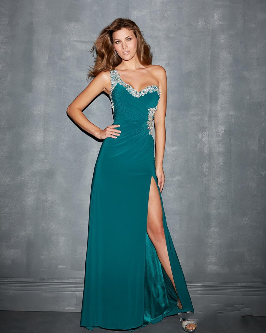 25f8b9140b71 2014 Custom Made Green Sexy One Shoulder Backless A line Floor Length Formal  Long Dresses With Beading Crystal Prom Dresses-in Evening Dresses from  Weddings ...