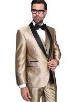 New Arrival 2018 Men Suits 3 Pieces Custom Made Groom Tuxedos Shawl Lapel Slim Fit Wedding suits ( jacket+Pants+vest)
