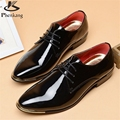 Patent leather men's business casual shoes Men Oxfords Lace-Up Men Wedding Shoes Dress 2017 big shoe US size 11 black white red
