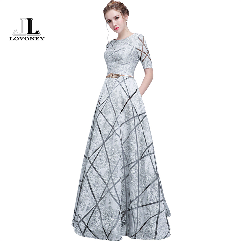 LOVONEY YS406 Long   Prom     Dresses   2018 New Design Short Sleeves   Prom   Gown with Sashes Formal   Dress   Women Evening Party   Dresses