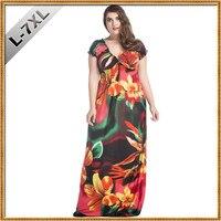 VITIANA Brand Womens Spring Elegant Clothing Bohemian V Neck Flower Print Maxi Long Party Casual Dress