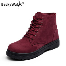 BeckyWalk Plus Size 35-44 Female Botas Motocycle Ankle Boots Women Boots Flat Lace-Up Martin Boots Autumn Shoes Booties WSH2462(China)