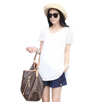 Hollow out design summer maternity tops wear shirt for pregnant women