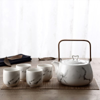 Japanese Classic Marble Ceramic Tea Set with Flower Pattern,Teapot & 4 Teacups.
