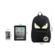 Men's Luminous Backpack Animation USB Phone Charger Laptop Backpack