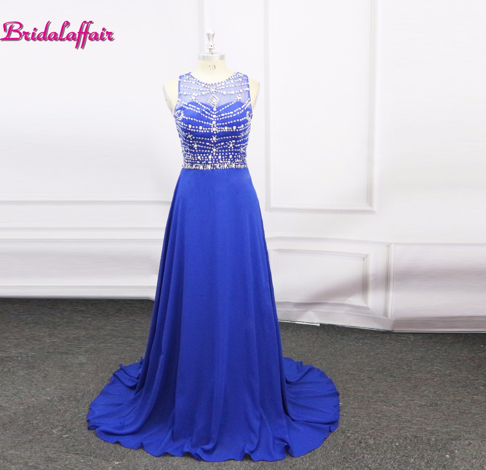 Cheap Scoop Neck Chiffon Long   Prom     Dress   Crystal Beaded Formal Party   Dress   Sparkly Backless Evening Gown vestido de festa longo