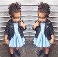 1 UNIDS Al Por Menor Nueva Moda Chaquetas de invierno para niñas de alta calidad Fresca de LA PU ropa de Cuero chaqueta de Los Niños