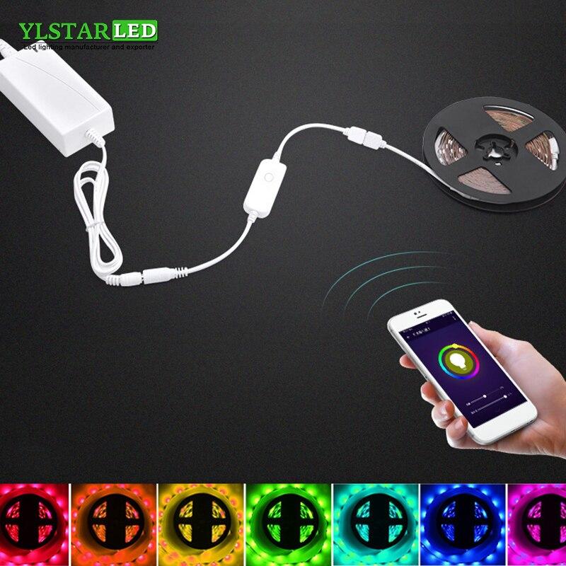 YLSTAR livraison gratuite 5 M 5050 RGB WIFI LED bande RGB WIFI contrôleur sans fil parole contrôle intelligent coloré doux LED bande