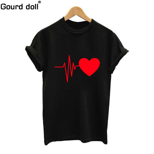 2018 Large Size New Harajuku Love Printed Women T-shirts Casual Tee Tops Summer Short Sleeve Female T shirt Women Clothing