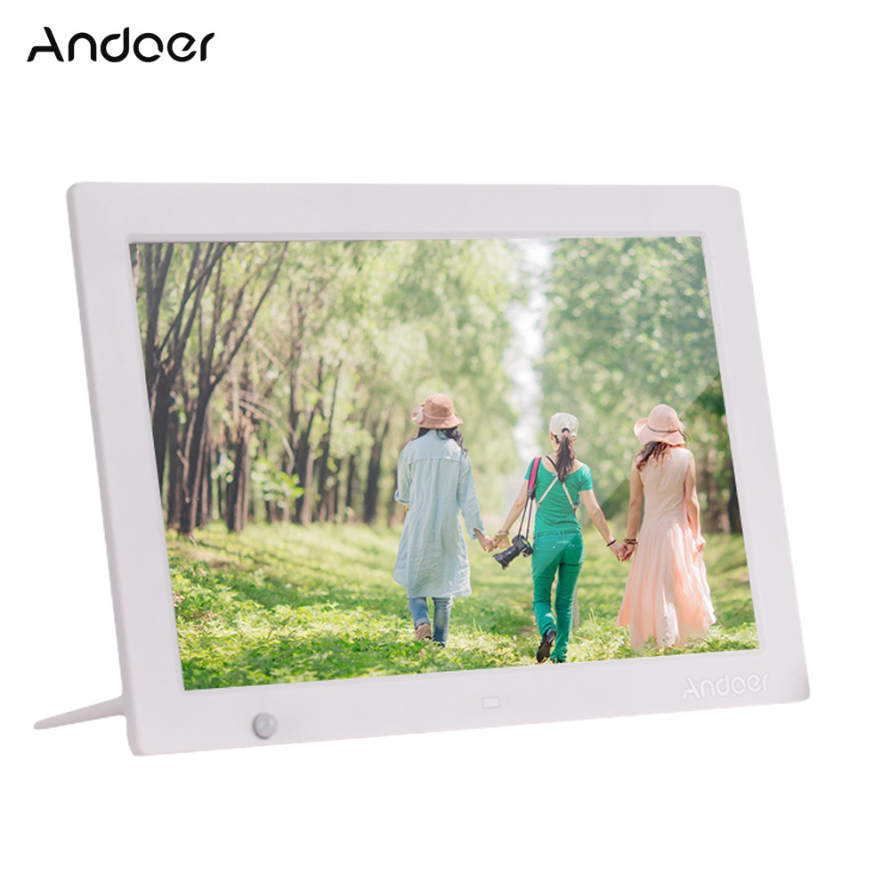 Andoer high quality 1080P 1280X800 HD Digital Photo Frame Electronic Picture Album Video Music Player with Motion Sensor Scroll