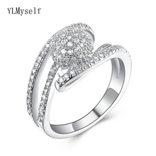 Купить с кэшбэком Elegant small stone rings OL lady jewelry high quality White/Gold-color jewellery female crystal finger ring sets