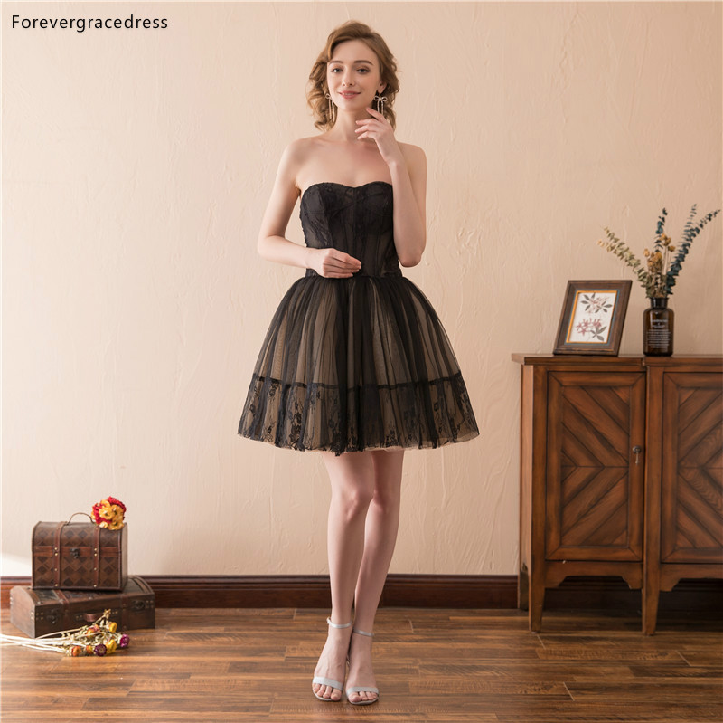Forevergracedress Black Short Mini   Cocktail     Dresses   A Line Sleeveless Tulle Girls Party Gowns Plus Size Custom Made