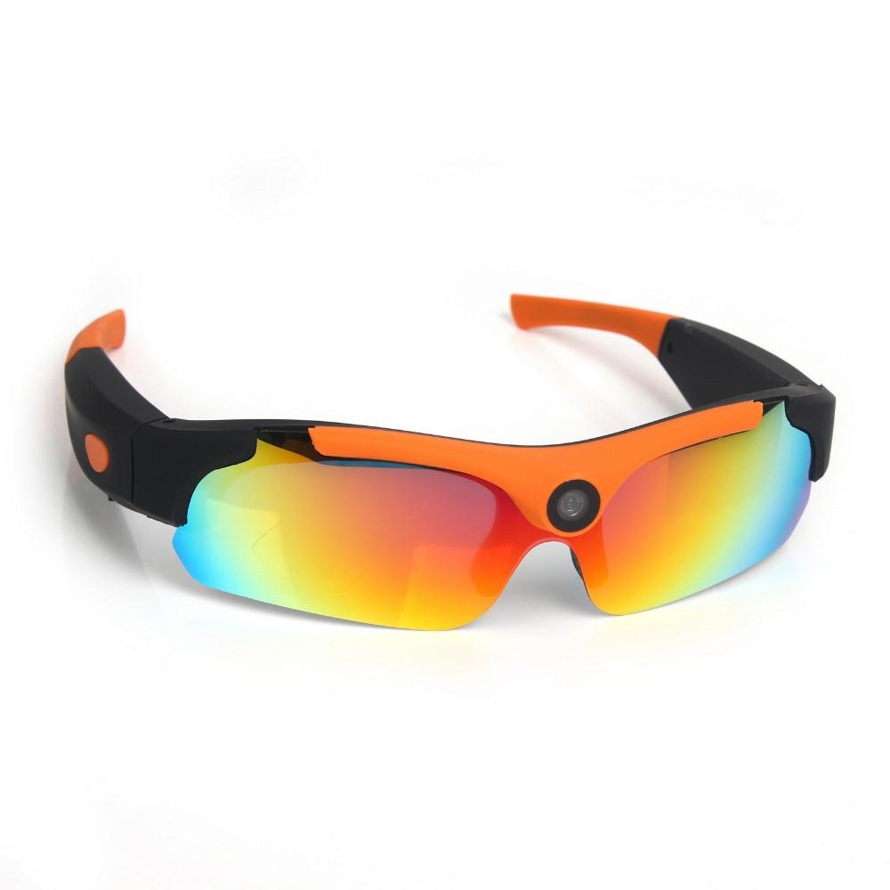 Sunglasses Camera Wide angle120 degrees Mini Camera Black Orange Mini DV Video Camera Smart Glasses HD