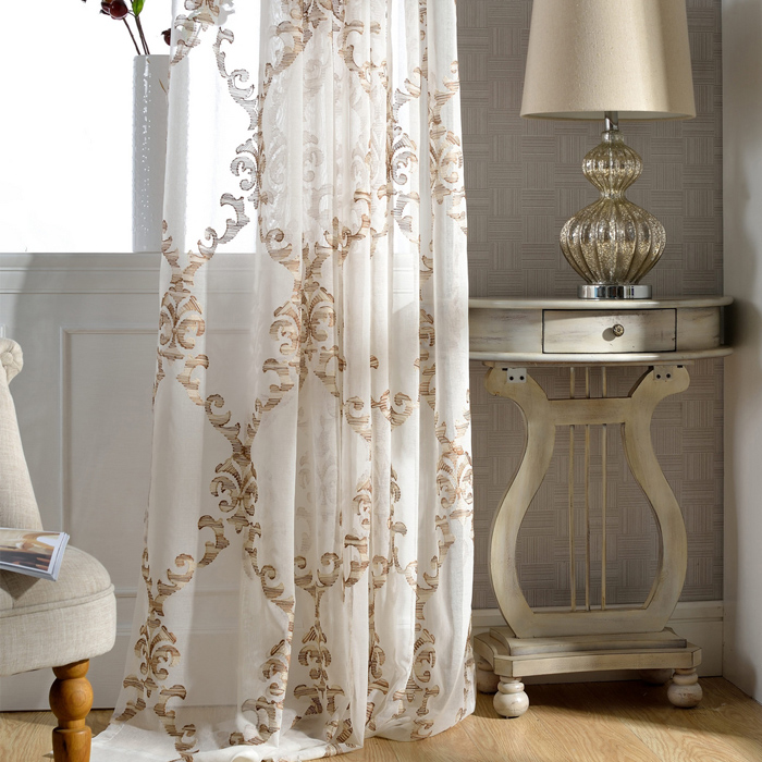 White sheer curtains transparent embroidered sheer - Off white curtains for living room ...