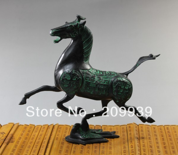 00296 Exquisite Old Chinese bronze statue horse fly swallow
