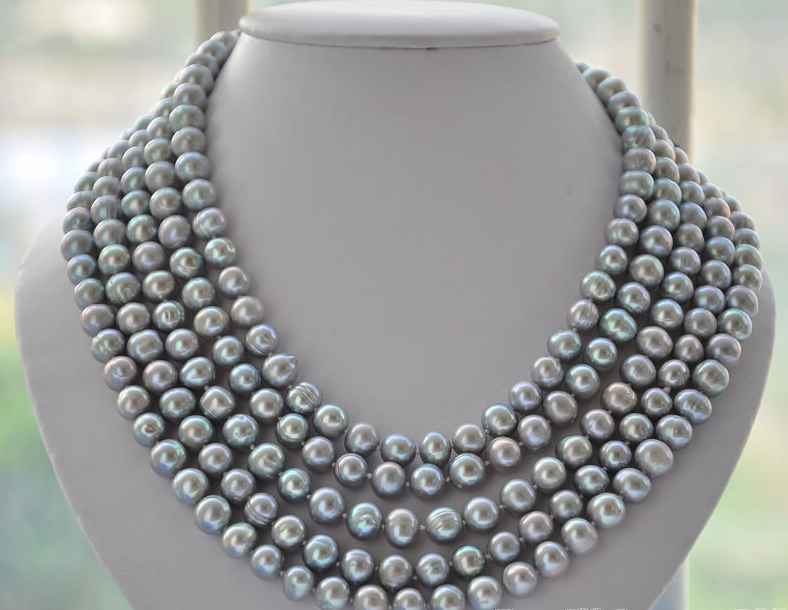 Wedding Woman Jewelry 100inch 9-10MM Light Gray Pearl Natural Freshwater Pearl Necklace Handmade Free Shipping цена и фото