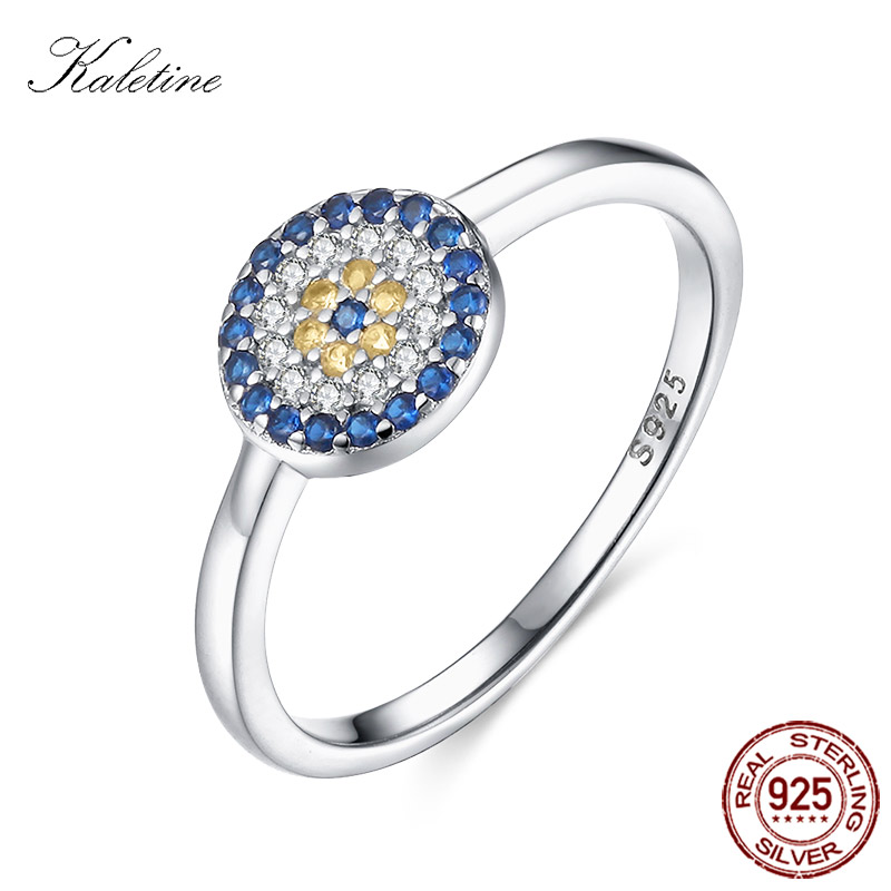 KALETINE 925 Sterling Silver Ring Evil Eye Charm Blue Yellow CZ Women Finger Rings For Women Men Jewelry Fashion 2018 KLTR102 new authentic 925 sterling silver evil eye luxury women fashion cz blue stone silver necklace