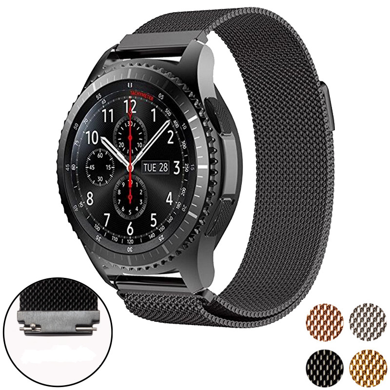 Magnetic Clasp Milanese Loop Watch Band For Samsung Gear S3 Classic / S3 Frontier Stainless Steel Replacement Strap Wrist Bands iw 8758g 3 men s and women s quartz watch fabric classic canterbury stainless steel watch with multi color striped band