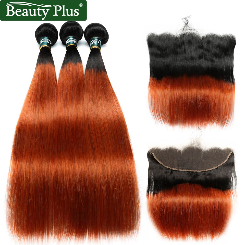 350 Orange Bundles With Frontal Baby Hair Beauty Plus Non Remy 13x4 Lace Closures With Burnt Orange Brazilian Human Hair Bundles