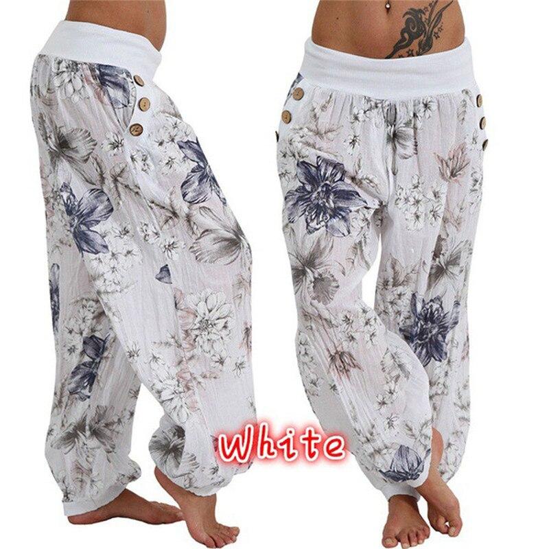 Summer Women Floral Loose Boho Harem Low Waist   Wide     Leg     Pants   Lady Trousers Casual Palazzo   Pants