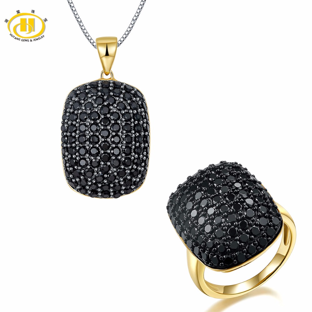 Hutang Stone Jewelry Sets Natural Spinel Solid 925 Sterling Silver Pendant & Ring Micro-set Gemstone Gold Plated Fine JewelryHutang Stone Jewelry Sets Natural Spinel Solid 925 Sterling Silver Pendant & Ring Micro-set Gemstone Gold Plated Fine Jewelry