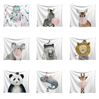 Cute Animals Print Wall Hanging Tapestry 2018 Fashion Tapestry Funny Cartoon Pattern Style Decorative Tapestry Home Decor tote bag