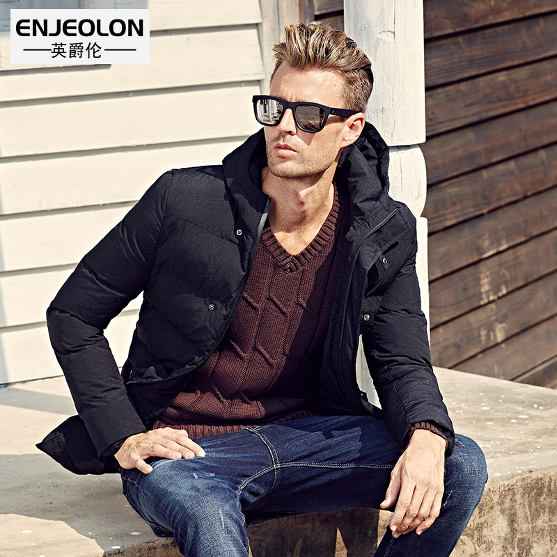 Enjeolon brand 2017 Winter Cotton Padded Hooded Jacket Men,Waterproof Parka Men Clothing Thick Quilted Coat Mens Hoodies MY0286 winter jacket men warm coat mens casual hooded cotton jackets brand new handsome outwear padded parka plus size xxxl y1105 142f