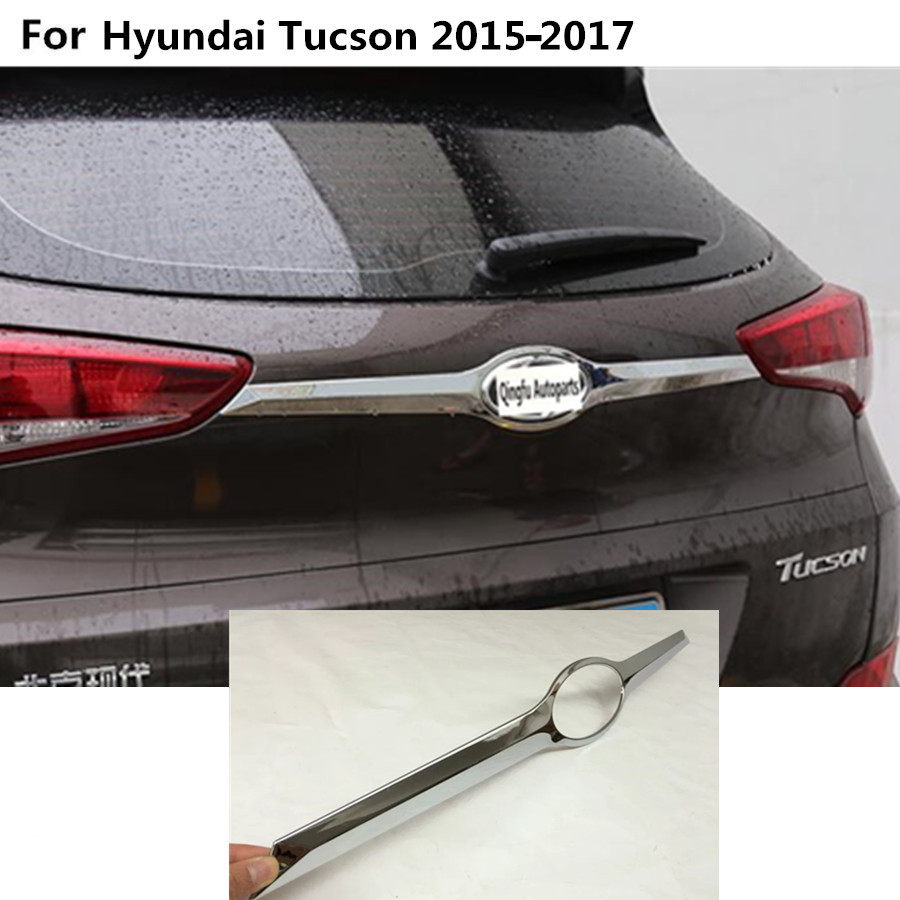 For Hyundai Tucson 2015 2016 2017 Rear back bumper trim car styling cover protection ABS chrome Door Tail Gate license pedal