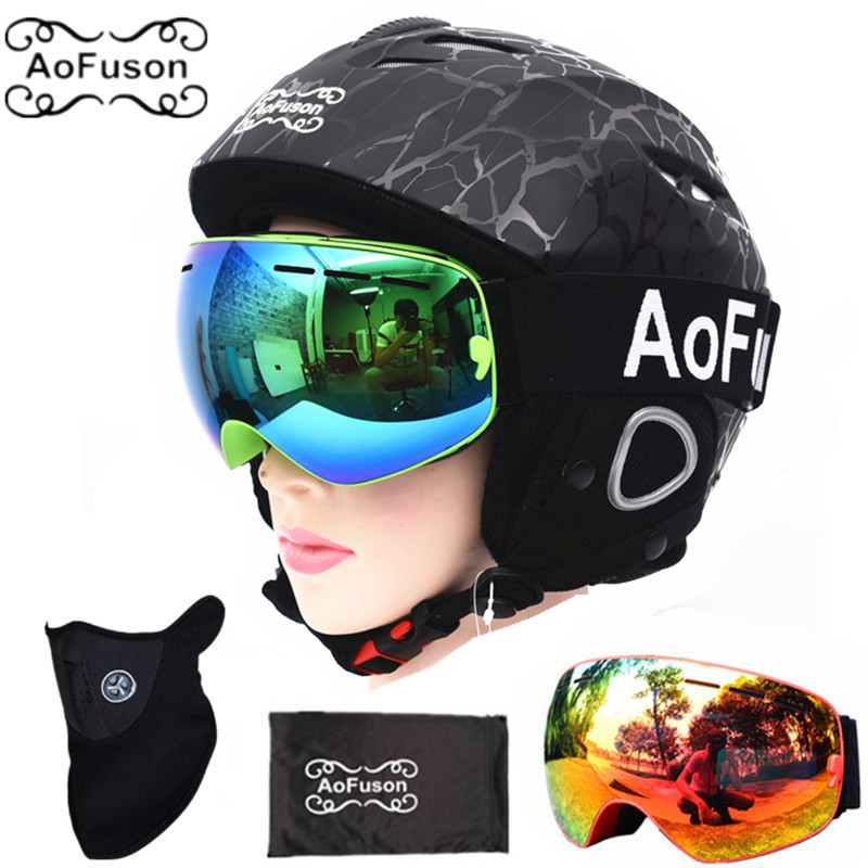 Snowboard Ski Helmet with Anti-fog Ski Goggle Integrally-molded Breathable Helmet Double Layers Big Vision Skiing Goggle Glasses goggle